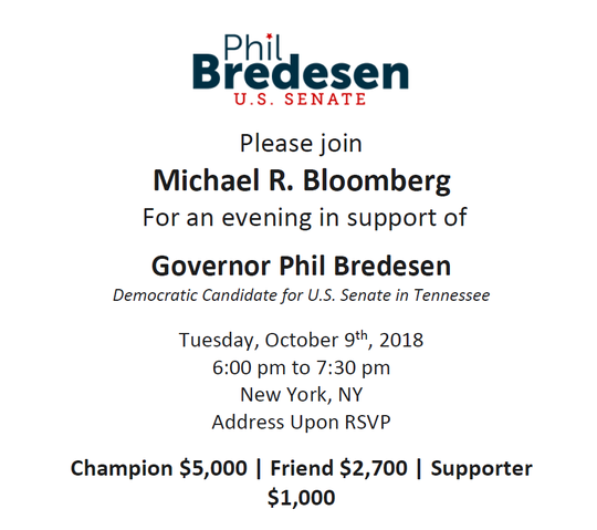 "An Oct. 9 fundraiser for Phil Bredesen, and hosted by former New York Mayor Michael Bloomberg, will cost individuals $5,000 to attend at a ""champion"" level, $2,700 at a ""friend"" level, and $1,000 to come as a ""supporter."""