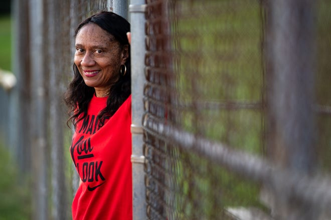 Diana Collins, the mother of Boston Red Sox star Mookie Betts, poses for a portrait at Cane Ridge Park. Betts played baseball at the Cane Ridge Park fields as a child.
