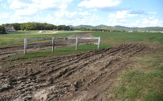 Damage was done to a field at Park at Harlinsdale Farm after heavy rain fell during Pilgrimage Festival. Photo taken on Wednesday. Oct. 3, 2018.