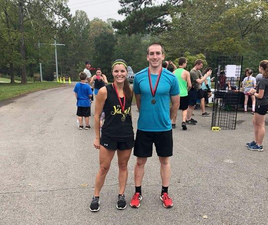 The 2018 top male runner Ryan Pett andtop female runner Stephanie Hughes.