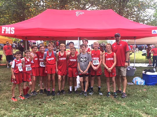 Fairview Middle School Boys Cross Country Team at Sectionals.