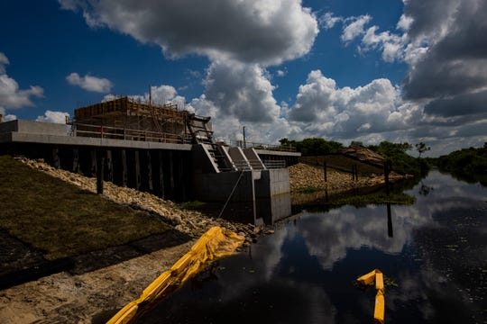 Caloosahatchee River (C-43) West Basin Storage Reservoir Project is spread over 10,500 acres of land and divided into two reservoir cells and two pump stations. The irrigation pump station S-476 conveys water from the Townsend Canal into a perimeter canal for local irrigation.