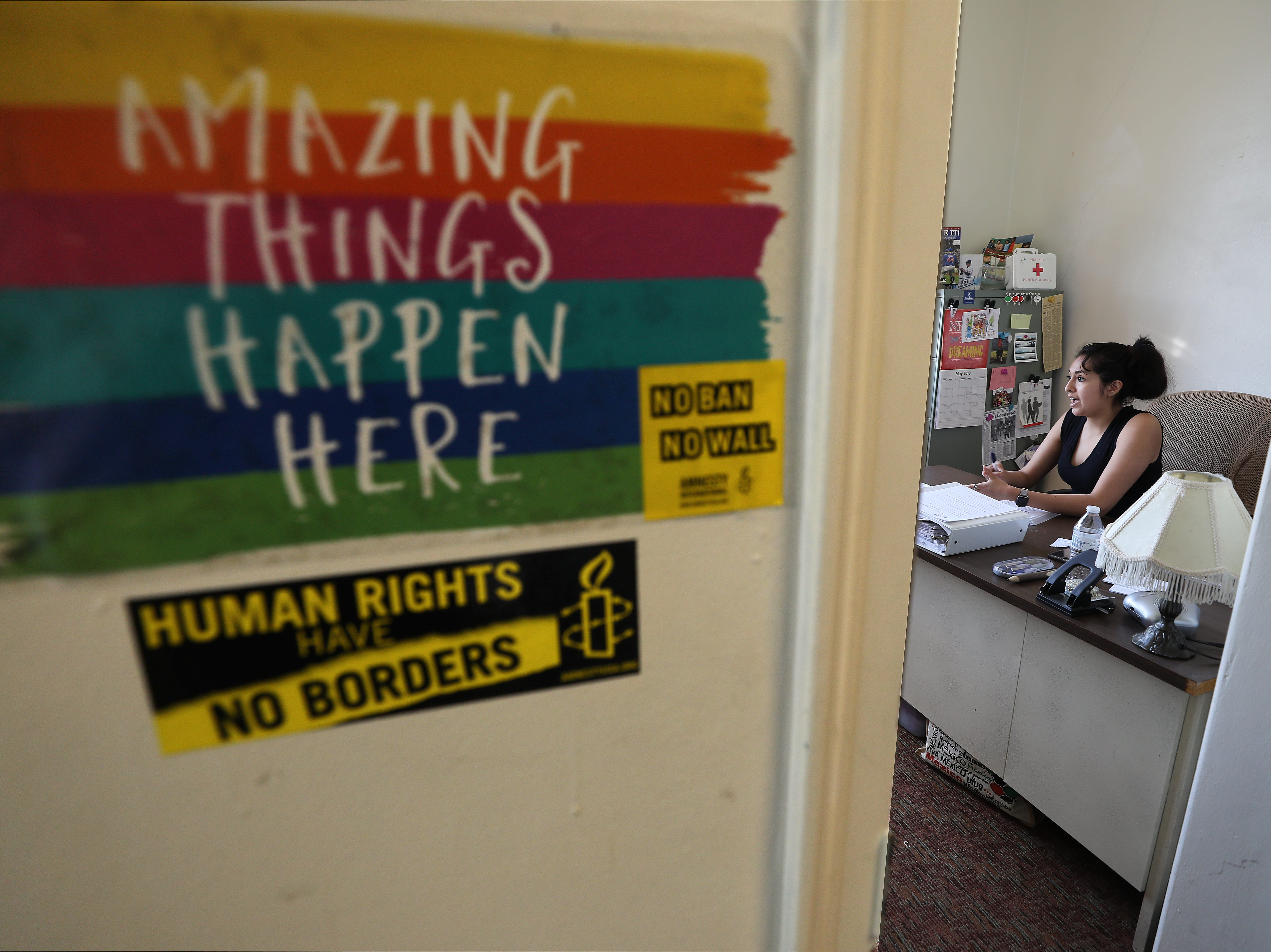 Amanda Lara is the assistant director of the Hazleton Integration Project, in her office.