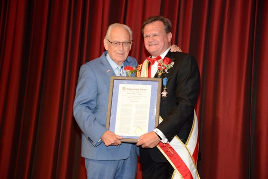 Garfield City Manager Tom Duch received recognition from Congressman Bill Pascrell in advance of his turn as the Grand Marshal at the Pulaski Day Parade 2018 in New York.