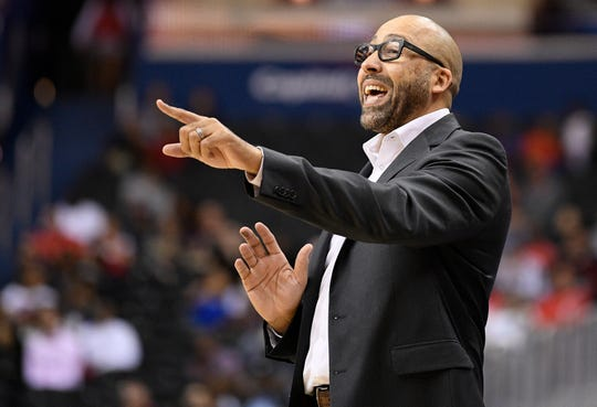 New York Knicks head coach David Fizdale points during the first half of an NBA preseason basketball game.