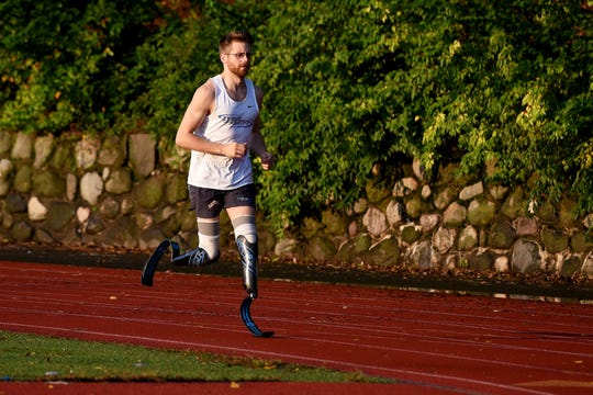 Double amputee Brian Reynolds of Bloomfield, trains in Brookdale Park in Bloomfield on Wednesday October 3, 2018. Reynolds is running in the Chicago Marathon on October 7, 2018.  Reynolds broke the double below-the-knee amputee world marathon record during the 2018 London Marathon with a time of 3:03:35.