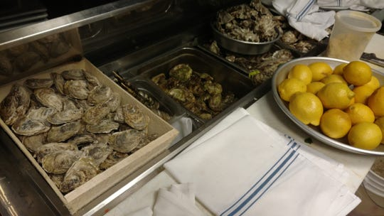Some of the oysters at Fin Raw Bar & Kitchen in Montclair