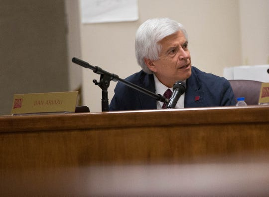 Dan Arvizu, the chancellor of New Mexico State University, discusses the funding requests from Mario Moccia during the NMSU Regents Meeting Wednesday October 3, 2018.