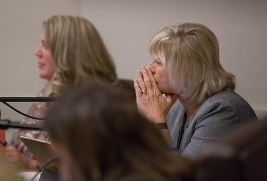 Debra Hicks, chair of the New Mexico State University Board of Regents, listens during a presentation on the university's strategic direction and performance management Wednesday Oct. 3, 2018.