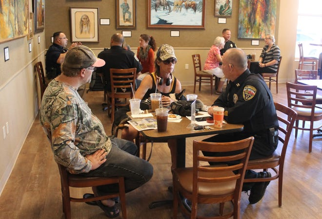 """The Alamogordo Police Department hosted its first """"Coffee with a Cop"""" event at Patron's Hall on Wednesday morning in conjunction with National Coffee with a Cop Day."""