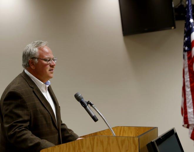Deputy Secretary of the Interior David Bernhardt addresses the San Juan County Commission Tuesday in Aztec.