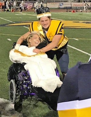Breanna Strange and Ryan Jarl were all smiles moments after being named South Lyon High School's 2018 homecoming queen and king.