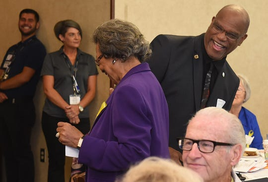 Opelousas Mayor Reggie Tatum shares a lighthearted moment with members of the Louisiana Retired Teachers Association during their 2018 Fall Meeting held recently at Evangeline Downs.