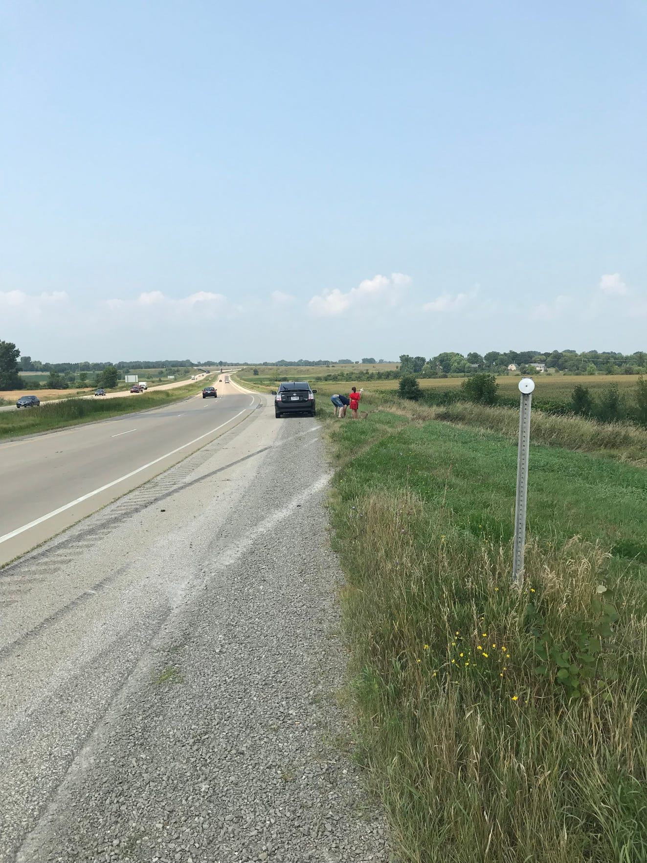 The tire tracks from Brownell's crashed Ford Mustang convertible were still visible on U.S. 45 days after the crash.