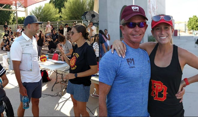 Coaching is all in the family as (left) husband and wife Pavol and Michelle Valovic faced off in boys' water polo, and (at right) father-daugther duo Owen and Morgan McIntosh battled on the tennis courts.