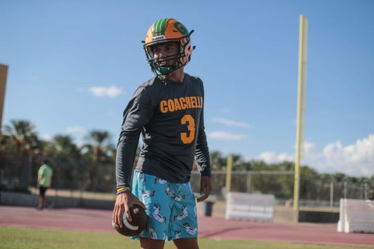 Coachella Valley quarterback Donny Fitzgerald before team practice on Tuesday, October 2, 2018 in Thermal.