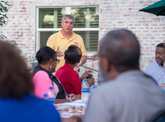 Pensacola Mayoral candidate Grover Robinson speaks during the Belmont-DeVilliers Neighborhood Association meeting in Pensacola on Wednesday, October 3, 2018.