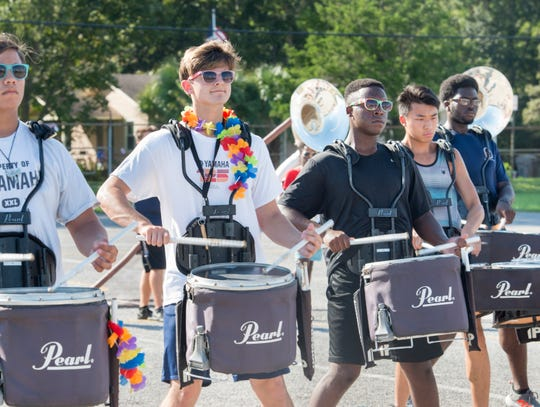 The Escambia High School Marching Band drum line practices at the school in Pensacola on Tuesday, October 2, 2018.  The band will be performing in the 3rd annual Blackwater Classic Marching Band Festival on Saturday, October 6th.