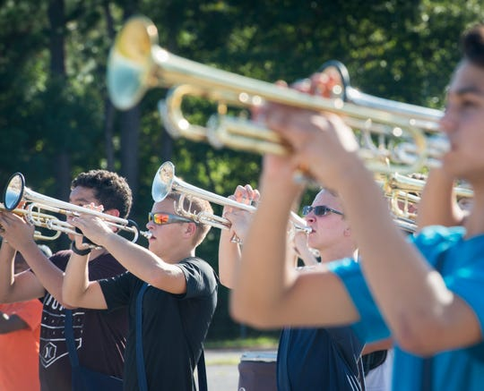 The Escambia High School Marching Band practices at the school in Pensacola on Tuesday, October 2, 2018.  The band will be performing in the 3rd annual Blackwater Classic Marching Band Festival on Saturday, October 6th.