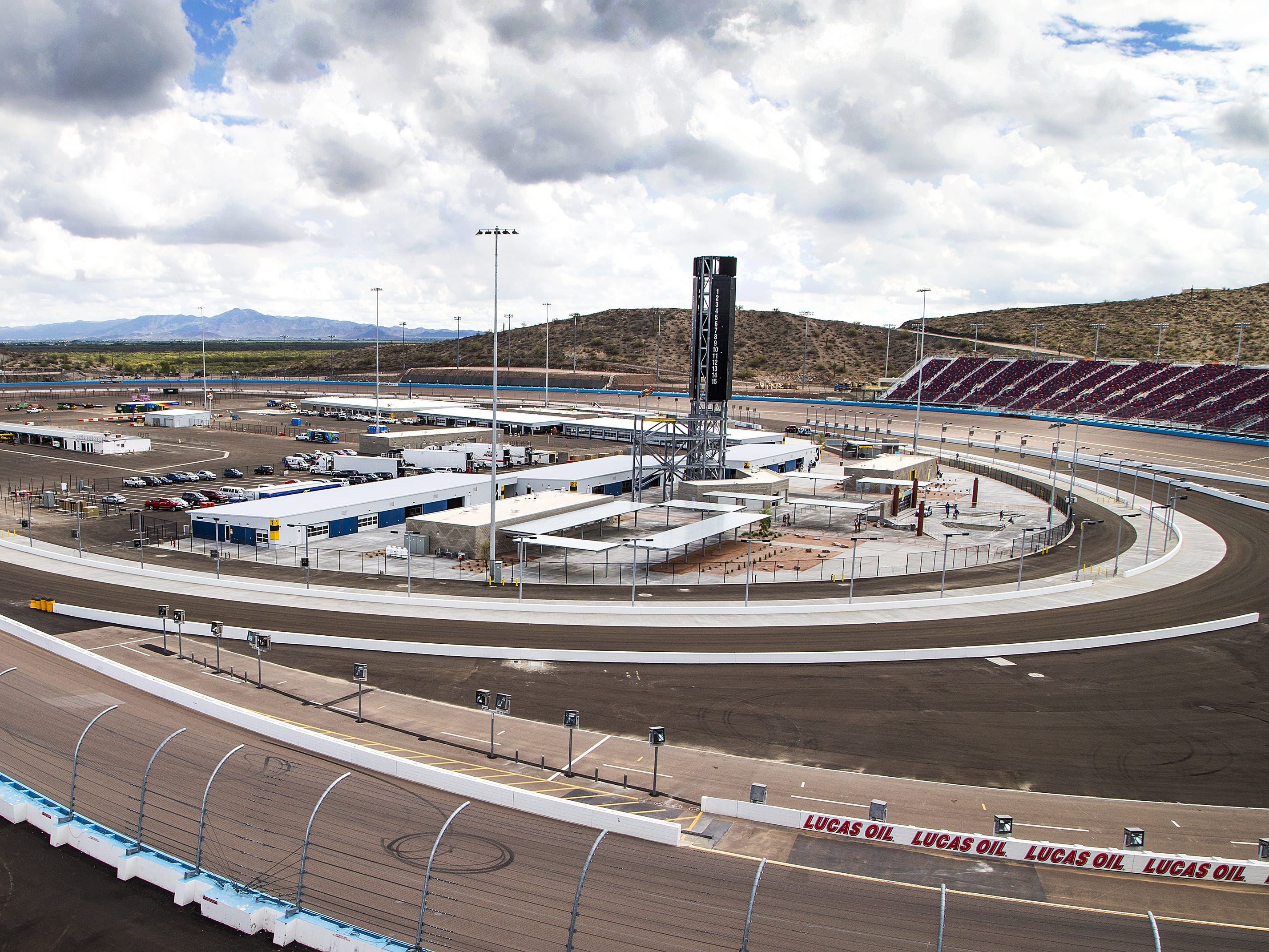 The infield has been completely rebuilt as part of the renovation of ISM Raceway in Phoenix . Final touches are being made in the massive renovation of the former Phoenix International Raceway, Wednesday, October 3, 2018.