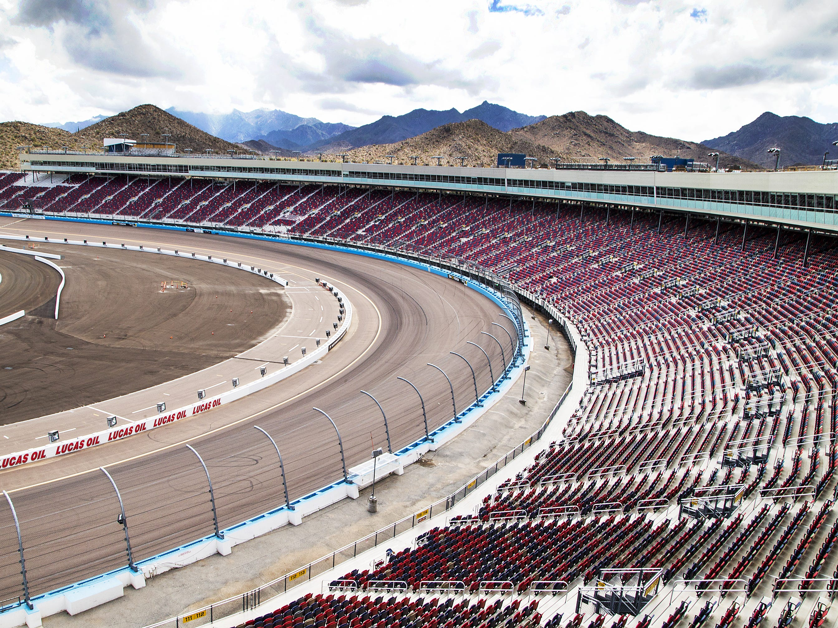The track and the bleachers have been completely rebuilt as part of the renovation of ISM Raceway in Phoenix . Final touches are being made in the massive renovation of the former Phoenix International Raceway, Wednesday, October 3, 2018.