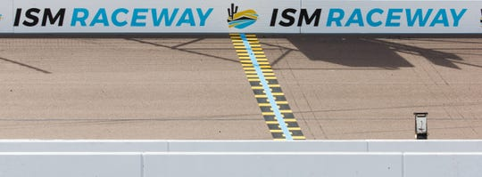 This is the new finish line at ISM Raceway in Phoenix . Final touches are being made in the massive renovation of the former Phoenix International Raceway, Wednesday, October 3, 2018.