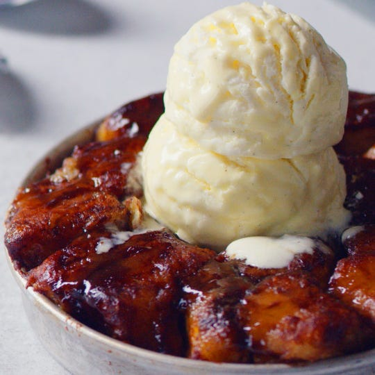 The monkey bread pizookie from BJ's Restaurant and Brewhouse.