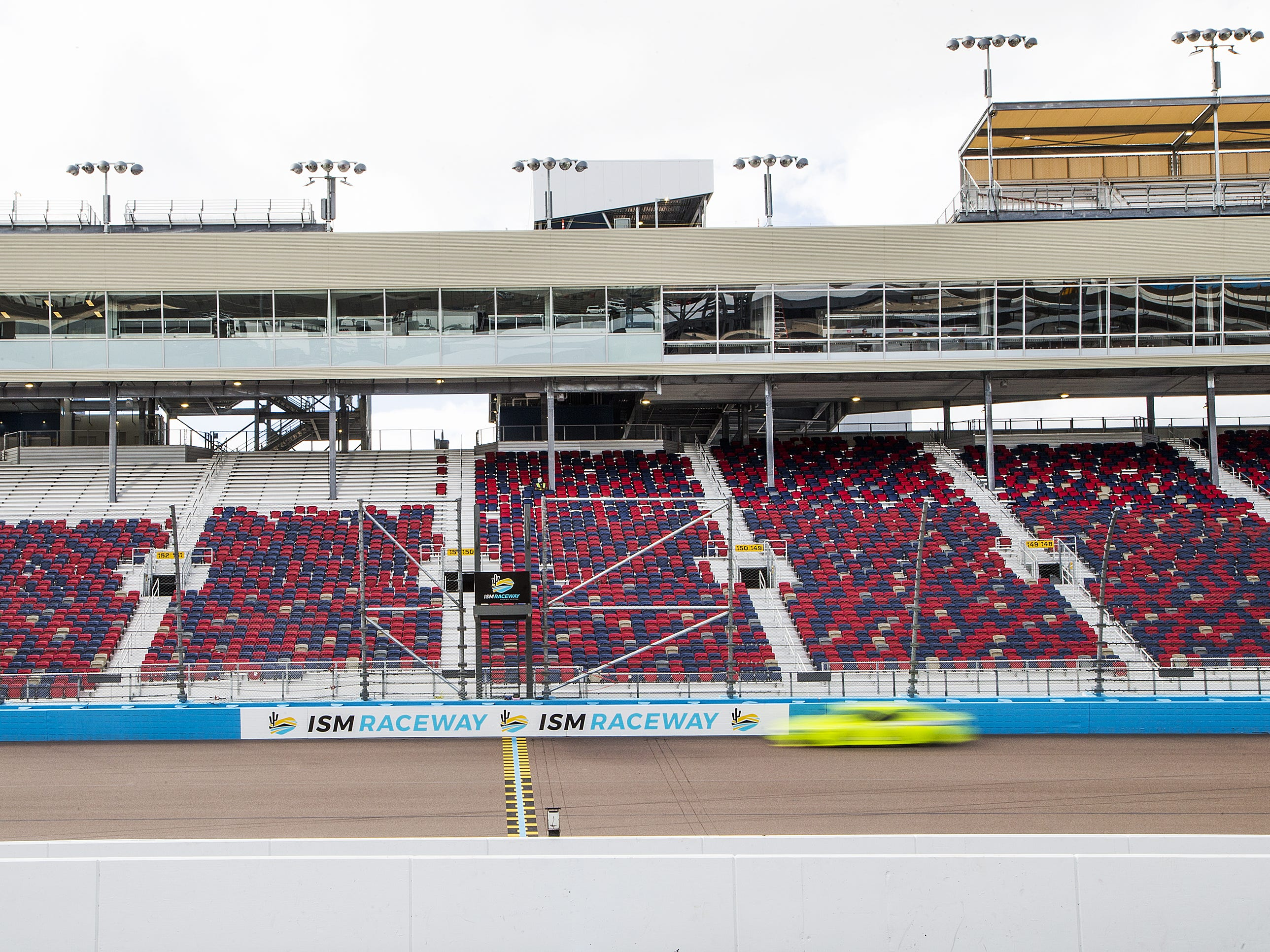 The new start-finish line at ISM Raceway in Phoenix.  Final touches are being completed in the massive renovation of the former Phoenix International Raceway, Wednesday, October 3, 2018.