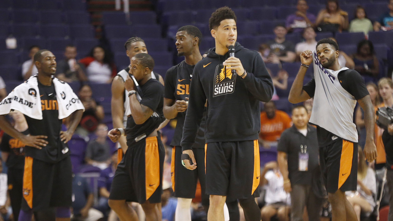timeless design a8d04 cbb1e Devin Booker set to return for Phoenix Suns' season opener ...