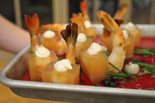 "The resort served ""spooky"" hors d'ouvres like this play on shrimp cocktail to tie in to the episode's Halloween theme."
