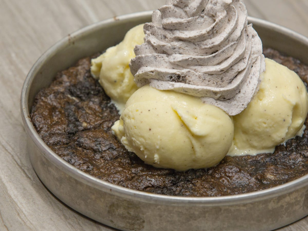 The cookies 'n' cream pizookie from BJ's Restaurant and Brewhouse.