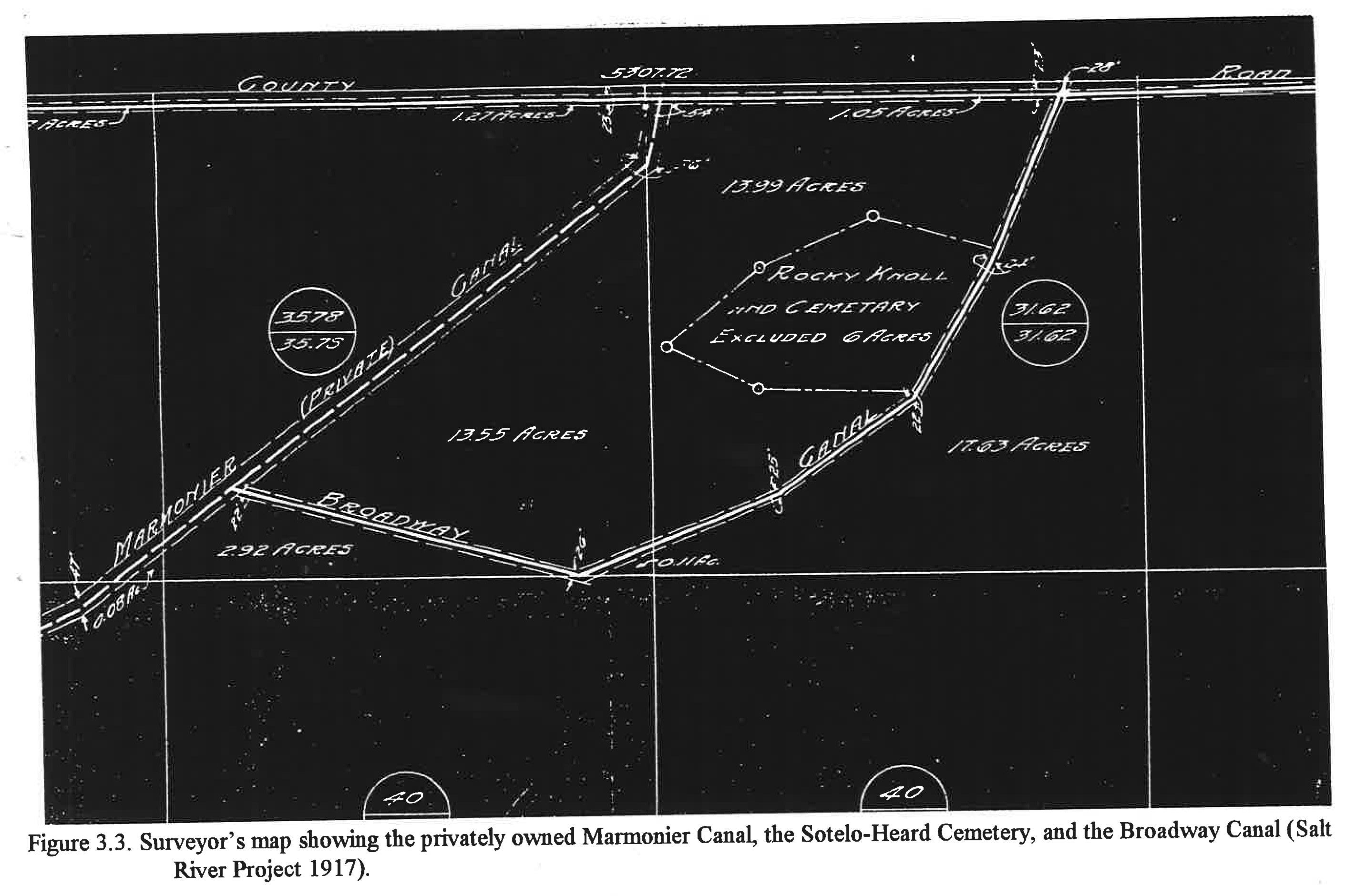 A 1917 Salt River Project surveyor's map shows the Sotelo-Heard Cemetery and it's proximity to multiple canals