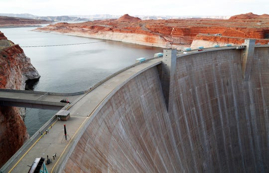 Lake Powell spreads out behind Glen Canyon Dam in Page.