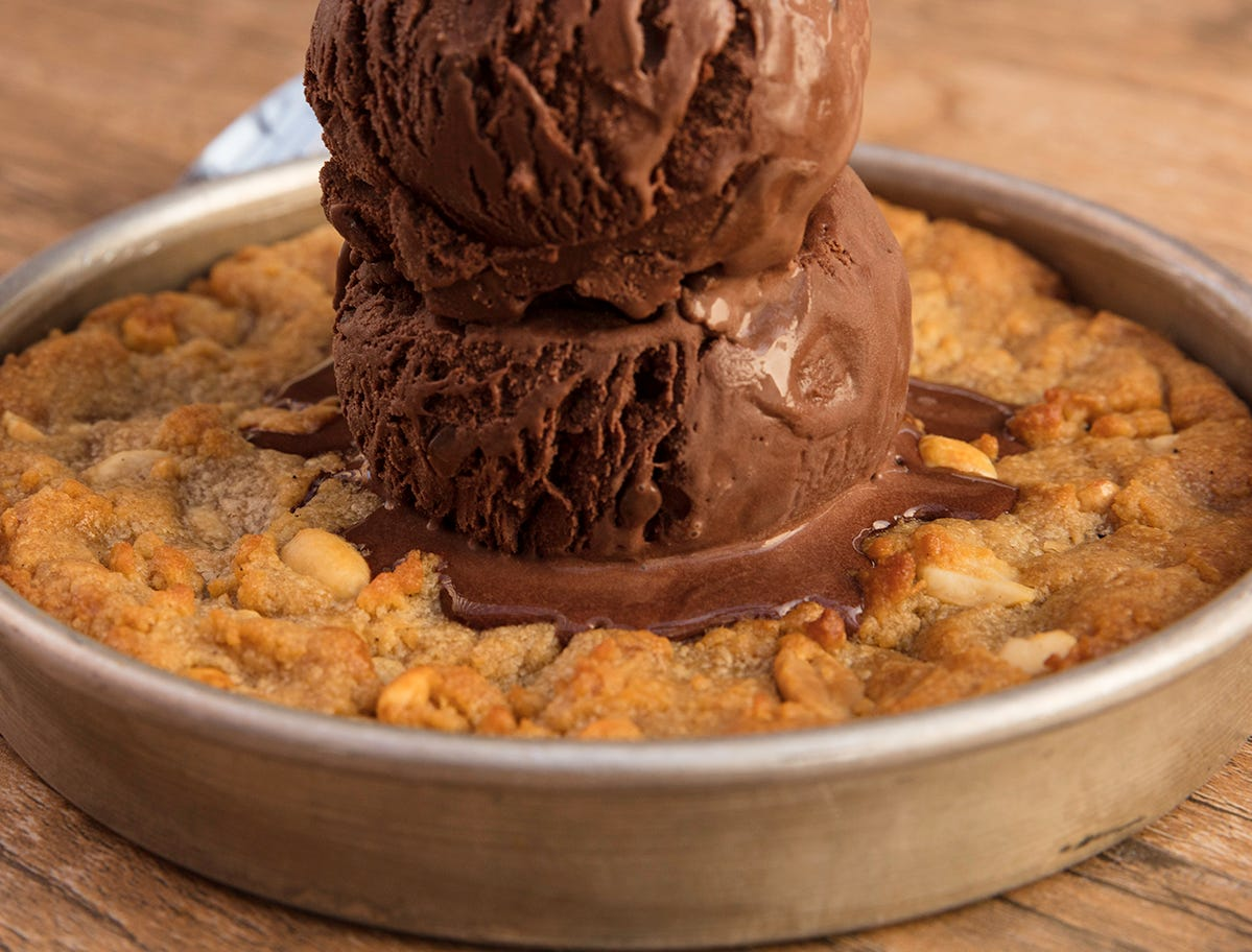 The peanut butter pizookie with chocolate ice cream from BJ's Restaurant and Brewhouse.
