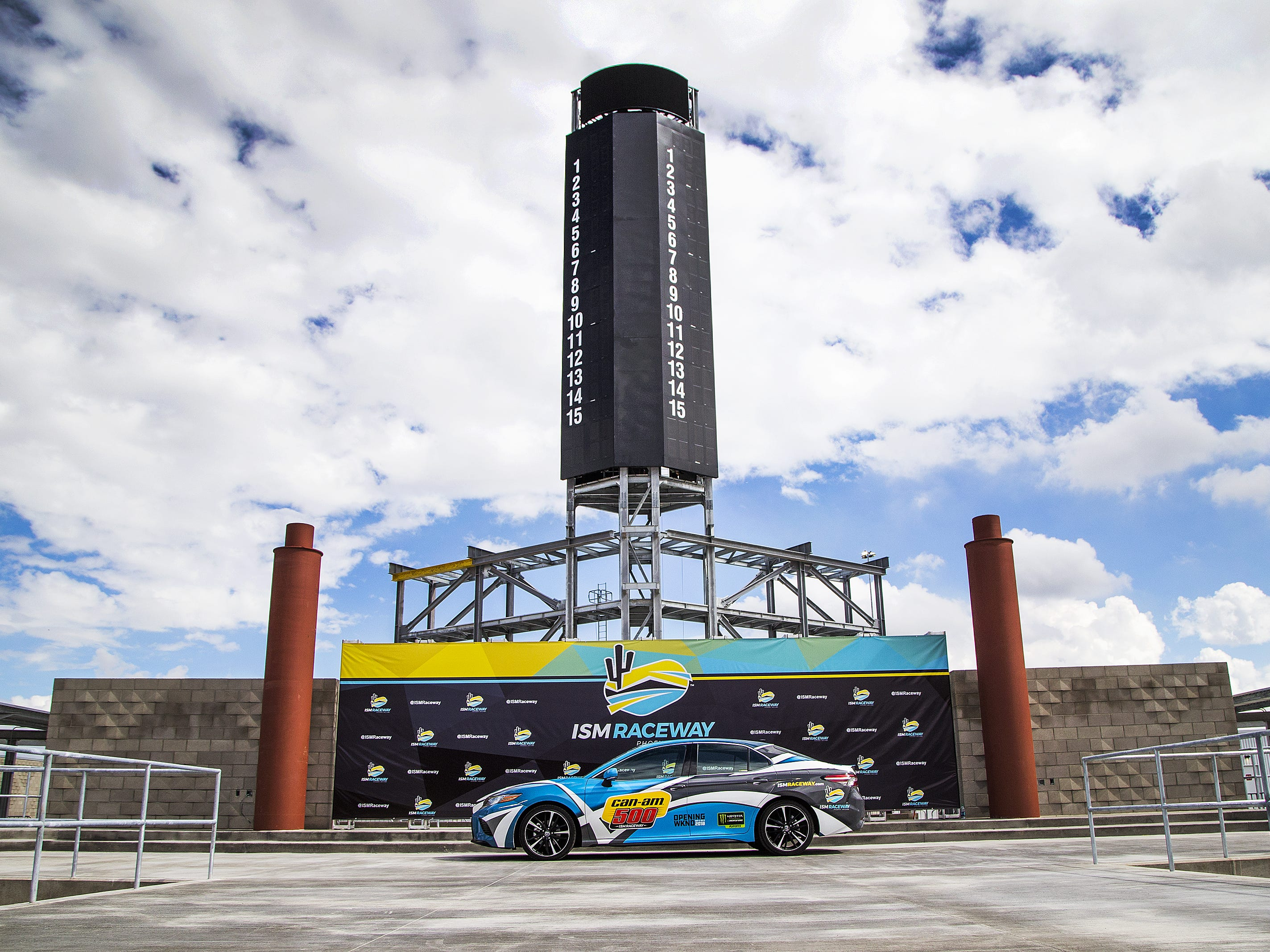 This is the new winner's stage under construction at ISM Raceway in Phoenix.  Final touches are being made in the massive renovation of the former Phoenix International Raceway, Wednesday, October 3, 2018.