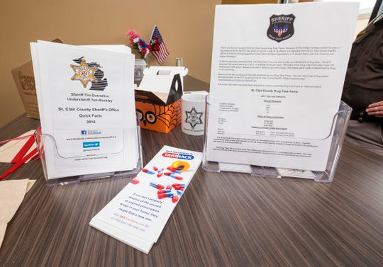 Informational pamphlets to be handed out during Coffee with a Cop Wednesday, Oct. 3, 2018 at Dunkin Donuts in Fort Gratiot.