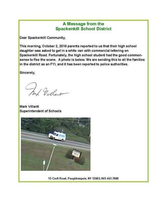 Spackenkill High School alert