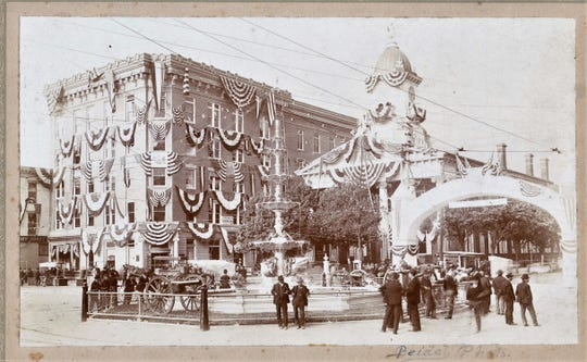 The Chambersburg Trust Building and the Old Courthouse in Memorial Square were decked out in patriotic swag during Old Home Week in 1906.