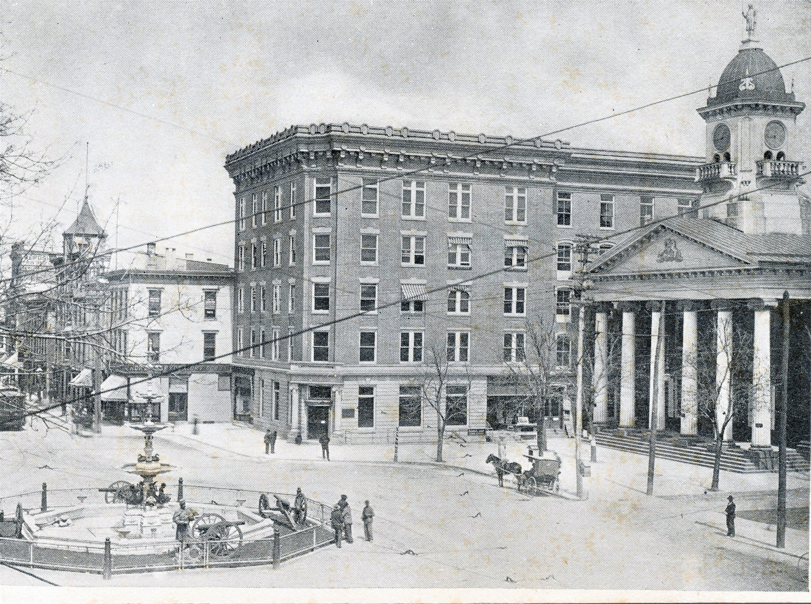 A look at the Chambersburg Trust Company building next to the Old Courthouse on Memorial Square in 1906. The building will soon be razed as part of the Franklin County Court Facility Improvement Project.
