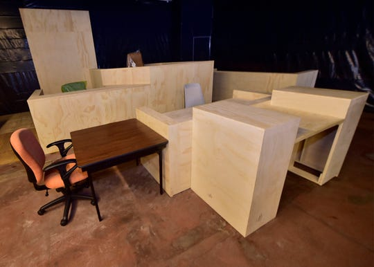 One of three lifesize models of courtrooms is on display on Wednesday, Oct. 3, 2018. The county set up the mock-ups in the old Jennings dealership on North Second Street between Grant and Broad streets, Chambersburg.