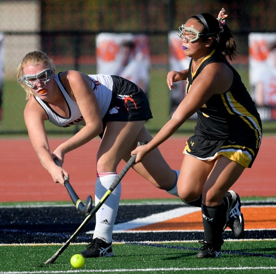 Central York's Abby Lamison, left, seen here in a file photo, scored the tie-breaking goal in the Panthers' 3-1 win over Bermudian Springs on Saturday.