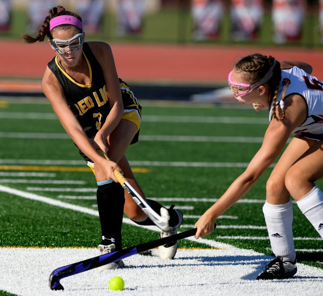 Red Lion's Kaiya Edwards, left, seen here in a game vs. Central York on Wednesday, scored the winning goal in overtime on Friday against Dallastown. DISPATCH FILE PHOTO