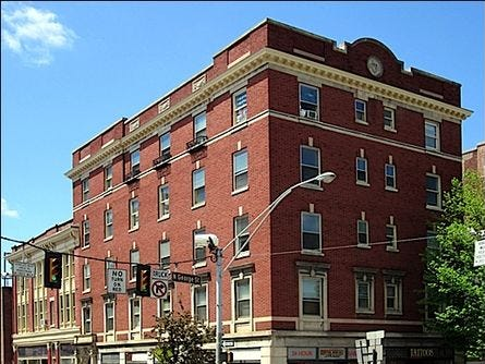 That 1920s first floor facade, now refurbished, bears the name of its new occupant, York Traditions Bank. The noted York, Pa., design firm, the Dempwolfs, designed the five-story building. The first floor was used as retail space with rooms above.
