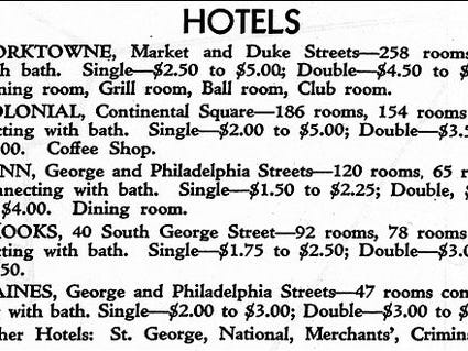 """Stephen H. Smith notes that Haines Hotel was not a high-end place for lodging:  """"A 1930 Map of The City of York contains details of the top hotels in the city. These hotels include: Yorktowne with 258 rooms, Colonial with 186 rooms, Penn with 120 rooms, Brooks with 78 rooms and Haines with 47 rooms. For these five hotels, in 1930, the least expensive rooms ranged from $1.50 to $2.50 per night; with the Haines Hotel right in the middle at $2.00 per night."""" Interesting, Haines Hotel went up the same year that the Yorktowne Hotel opened. The Yorktowne is also undergoing major renovations."""