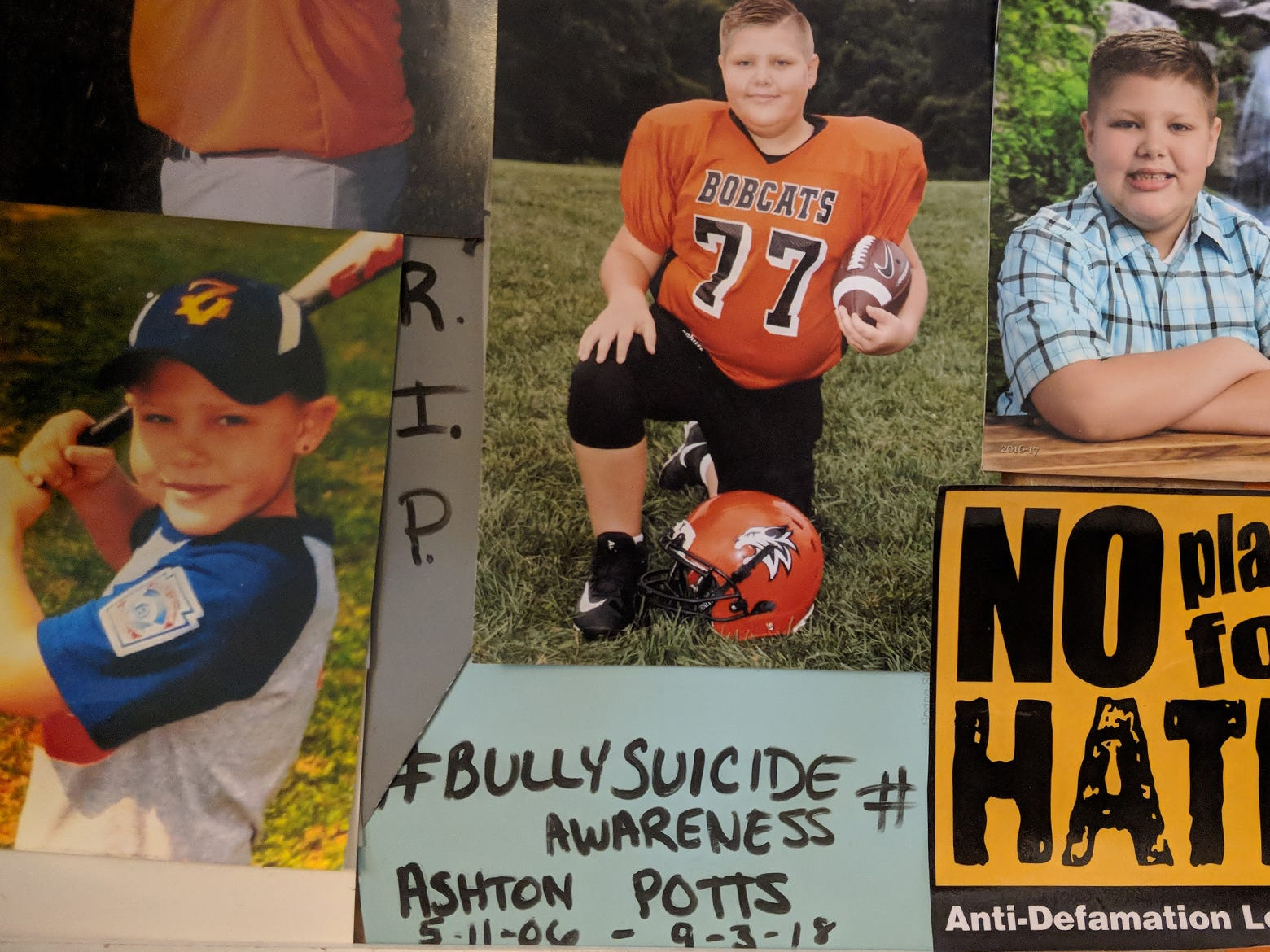 A collage of photos of Ashton Potts with anti-bullying messages at his mother's home in York.