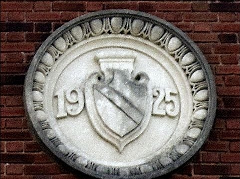 """Stephen H. Smith writes about this plaque: """"When I zoomed in on the 1925 date plaque, high above North George Street, I was surprised I did not see the Haines name ... ."""""""