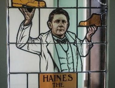 Here's the Shoe Wizard himself, or at least a stained glass window showing Mahlon Haines. It's available for all to see at Haines Shoe House, another landmark building on Haines' legacy list, east of York in Hellam Township.