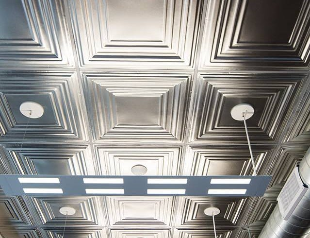 A closer view of that new ceiling that takes you back to another era.