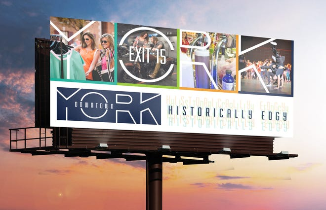 This image shows a concept of what an outdoor billboard with downtown York's new destination brand might look like. This image is just a concept and might not be reproduced exactly as it appears.