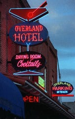 Neon signs glow at the Overland Hotel in Gardnerville, a onetime Basque rooming house, in October 1999.